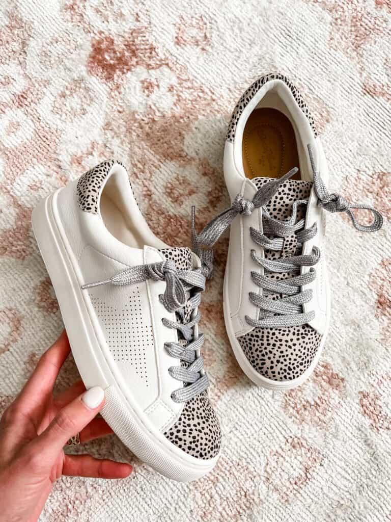 leopard sneakers, white sneakers