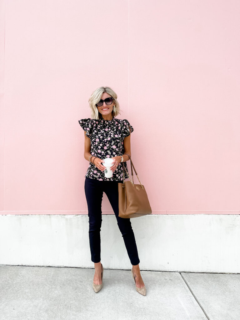 classic work wear look with black pants